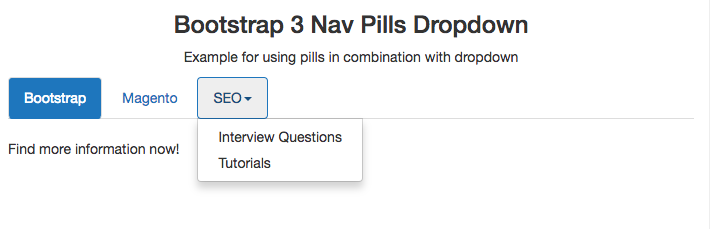 Bootstrap 3 Pills Example | Navbar | Color | Vertical | Stacked | Height