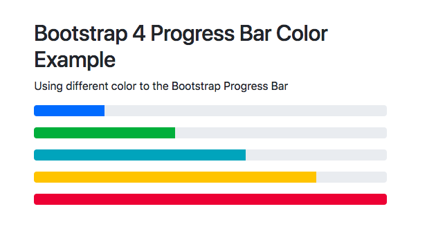 Bootstrap 4 Progress Bar Example | Color | height | animate | circle