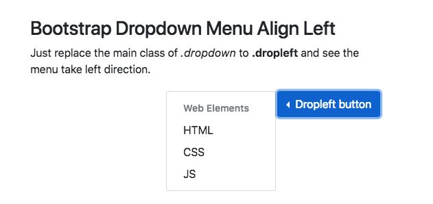 Bootstrap Dropdown Menu position left example -