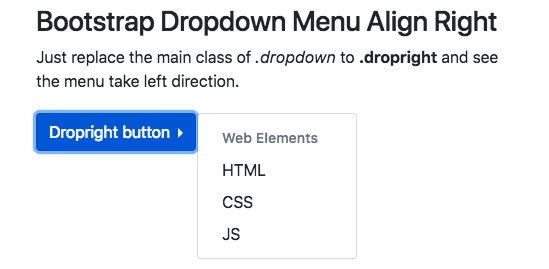 Bootstrap 4 Dropdown | left | right | Menu | Submenu
